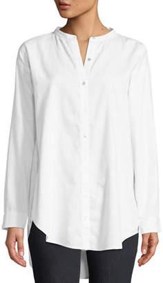 Eileen Fisher Petite Mandarin-Collar Button-Front Shirt