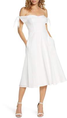 AVEC LES FILLES Off the Shoulder Eyelet Midi Dress