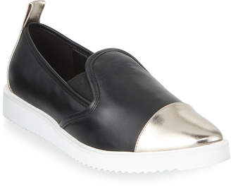 Karl Lagerfeld Paris Cler Metallic Leather Pointy-Toe Sneakers