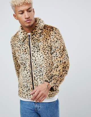 Asos DESIGN faux fur western jacket in leopard print