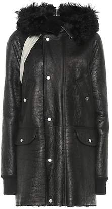 Rick Owens Fur-trimmed leather coat