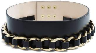 Balmain Chain-embellished leather waist belt