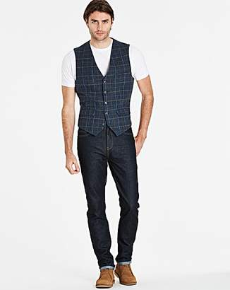Jacamo Black Label Blue Slim Checked Tweed Waistcoat Long