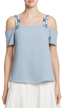Cooper & Ella Beaded Sandra Cold Shoulder Top $165 thestylecure.com