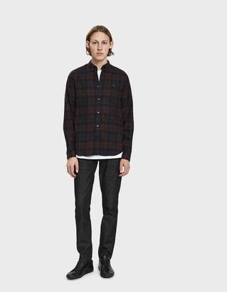 Norse Projects Anton Flannel Check Button Down Shirt in Eggplant Brown