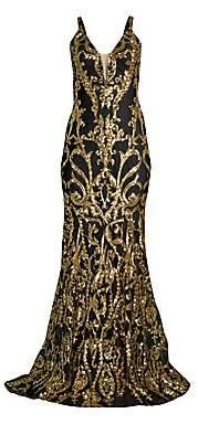 Jovani Women's Contrast Sequin Mermaid Gown - Size 0