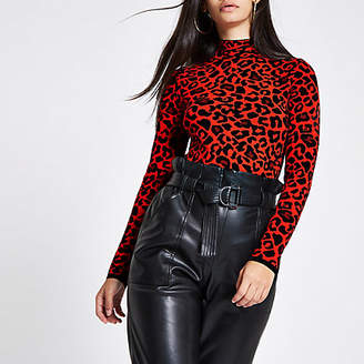 River Island Red leopard print turtle neck sweater