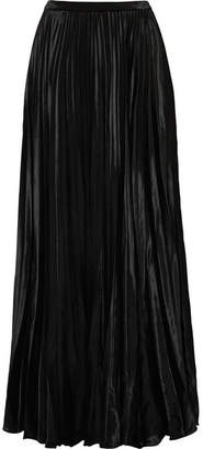 Saint Laurent Plissé-velvet Maxi Skirt - Black