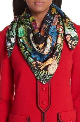 Gucci Tiger & Kingsnake Print Silk Twill Scarf