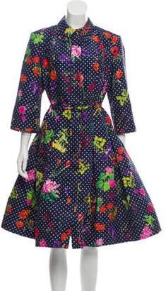 Oscar de la Renta Silk Floral Print Coat