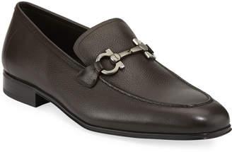 Salvatore Ferragamo Men's Textured Calfskin Gancini Loafer, Brown