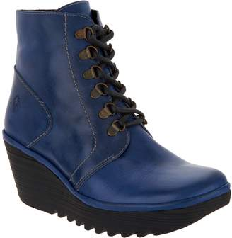 Fly London Leather Lace-up Wedge Ankle Boots - Yarn
