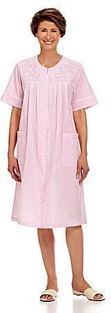 Miss Elaine Seersucker Stripe Snap Robe