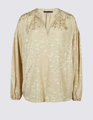 Marks and Spencer Floral Jacquard Long Sleeve Blouse