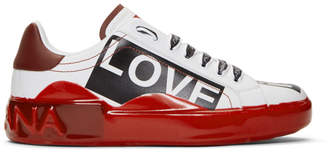 Dolce & Gabbana White and Red Portofino Melt Love is Love Sneakers