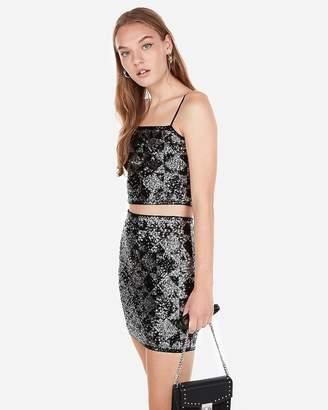 Express Geometric Sequin Mini Skirt