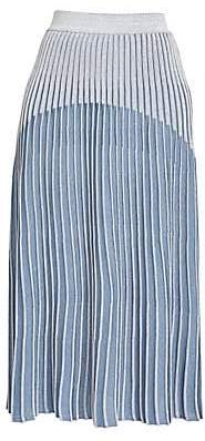Balmain Women's Pleated Lurex Knit Midi Skirt