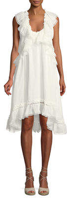 Leon Max Scoop-Neck Sleeveless Linen-Silk Dress w/ Ruffle Detail
