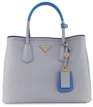 Prada Saffiano Cuir Medium Bicolor Double Tote Bag