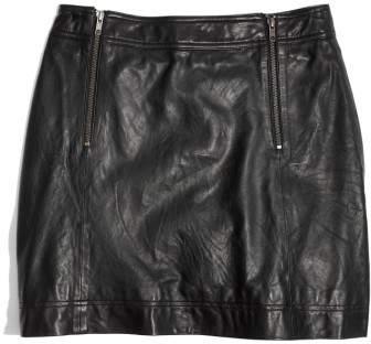 Women's Madewell Leather Uptown Zip Skirt