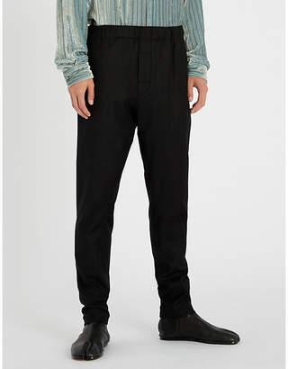 Ann Demeulemeester Elasticated-waist regular-fit wool-blend trousers