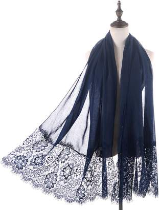 Women Lightweight Fashion Lace Scarf,RiscaWin Summer Soft Scarves Wrap Beach Cover