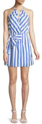 Parker Larissa Sleeveless Striped Cotton Halter Dress