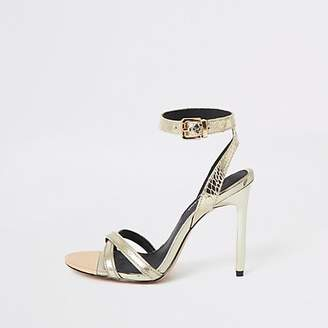 4e9d7e4a8 River Island Gold high skinny heel shoes