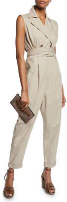 Brunello Cucinelli Double-Breasted Safari Cotton Jumpsuit