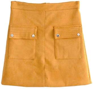 Goodnight Macaroon 'Kinsley' Yellow Faux Suede A-Line Mini Skirt