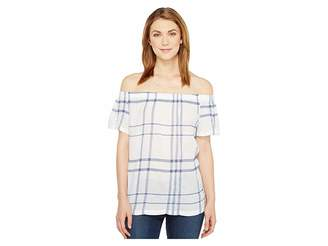 Vince Camuto Off the Shoulder Timeless Plaid Blouse Women's Blouse