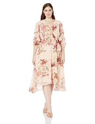 c9cff0178e6 Gabby Skye Women s Plus Size Elbow Sleeve V-Neck Midi A-Line Dress