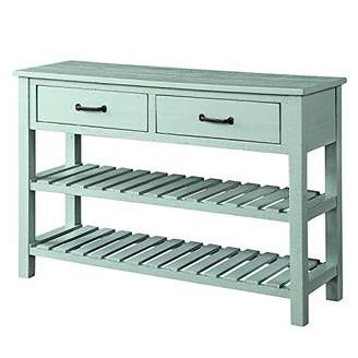 Gap ALI VIRGO Retro Console Table for for Entryway with Two Drawers and Twin Bottom Shelves Living Room Furniture Tiers Shelf