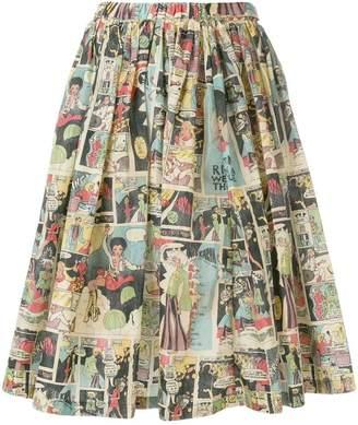 Prada comic book pleated skirt