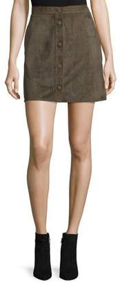Helmut Lang Suede High-Rise Mini Skirt, Marsh $895 thestylecure.com