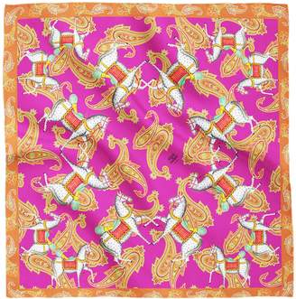 House of Gharats - Kalighat Horse Classic Silk Scarf Collection Pink & Orange Large