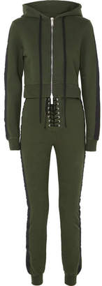 Unravel Project - Hooded Cotton-jersey Jumpsuit - Army green