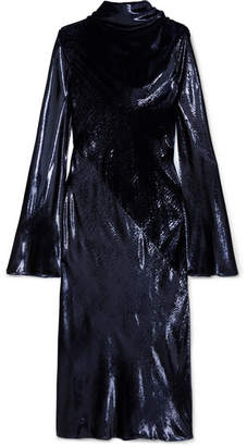Ellery Gotham Metallic Velvet Midi Dress - Navy