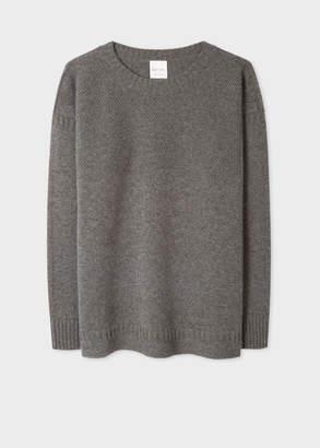 Paul Smith Men's Grey Lambswool Moss-Stitch Crew Neck Sweater