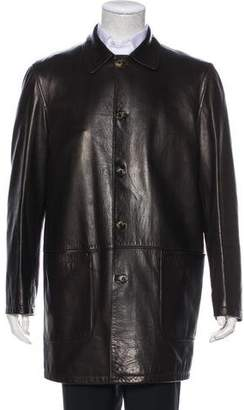 Loro Piana Leather Button-Up Overcoat