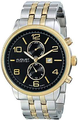 August Steiner Men's AS8069TTGB Swiss Quartz Multifunction Watch with Black Dial and Two Tone Bracelet