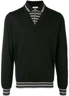 Dirk Bikkembergs panelled polo sweater