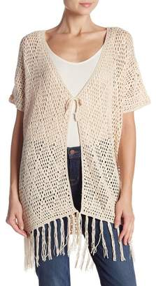 Catherine Malandrino Fringe Trim Open Knit Short Sleeve Cardigan