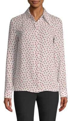 Michael Kors Silk Floral Button-Up Blouse