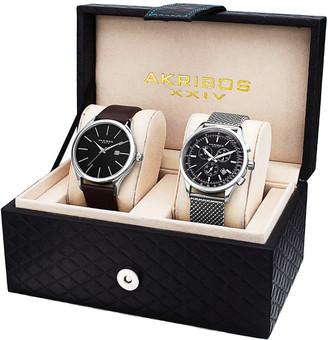 August Steiner Akribos Xxiv Men's 2Pc Watch Gift Set