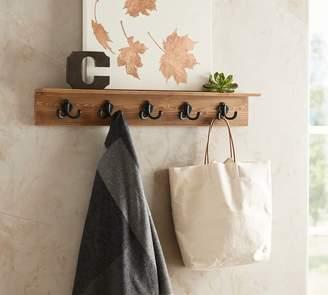 Pottery Barn Wade Entryway Shelf with Row of Hooks - Pine