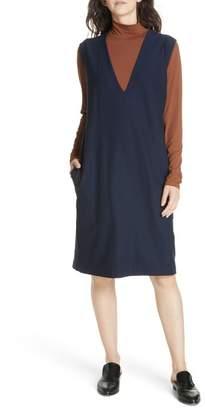 Eileen Fisher Deep V-Neck Knee Length Shift Dress (Regular & Petite)