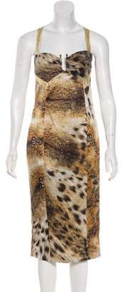 Just Cavalli Printed Racerback Midi Dress