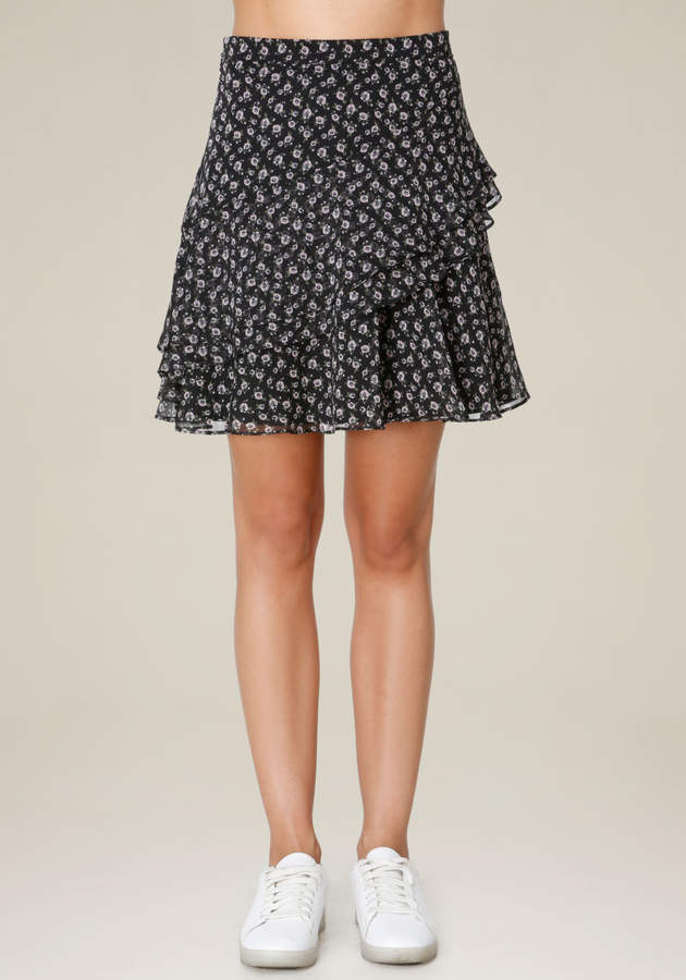 Print Ruffled A-Line Skirt