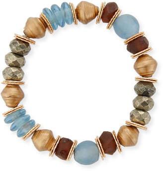 Neiman Marcus Akola Mixed-Media Stretch Bracelet with Pyrite & Glass